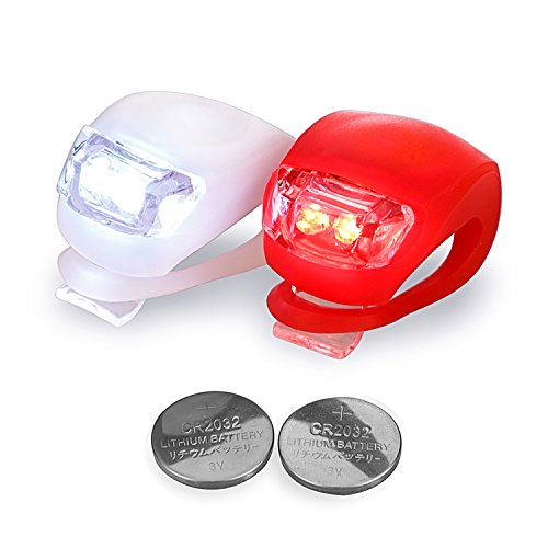 LED Fahrradbeleuchtung LUZWAY Silikon Fahrradlicht LED Set , Sicherheitsbeleuchtung Kinder-Fahrrad, Silikonleuchtenset mit Batterie, Licht Kinderwagen 1x Rot (LED Rot) + 1x Weiß (LED Weiss)