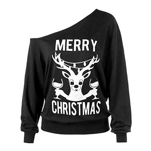 MIRRAY Damen Weihnachten Mode Lange Ärmel Weg von den Schulter Frohen Weihnachten Druck Feiertags Sweatshirts
