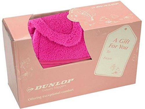 Donna Peonia/Viola fresia Dunlop Memory Foam Mocassino Da Infilare Ciabatte Set Regalo Scarpe Misura 3-8 Fuchsia