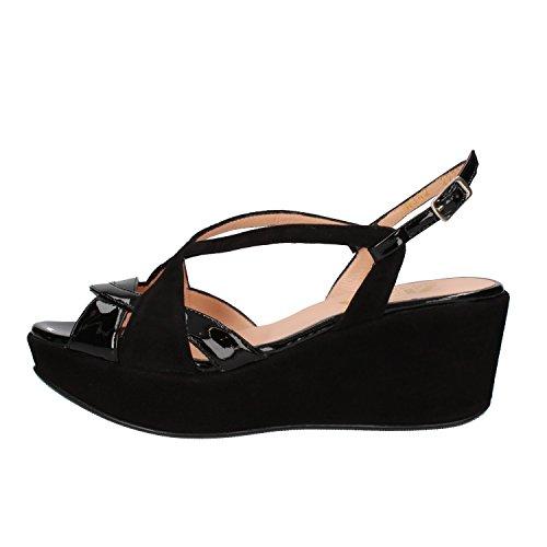 ZENA sandali donna nero camoscio vernice AF759 (35 EU)