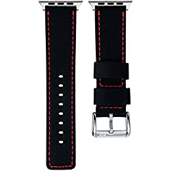 ZULUDIVER Waterproof Diver's Watch Strap Black / Red for Apple Watch 42mm
