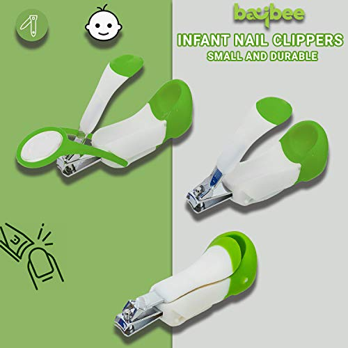 Baybee Baby Nail Clipper with Magnifier Safety Nail Cutter Toddler Infant Scissor Manicure Pedicure Care Pack of 1 (Green)