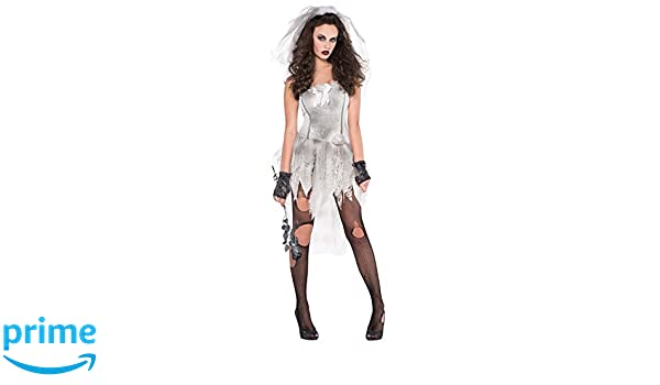 New Bloody Bride Adult/'s Halloween fancy dress costume ghost zombie tights 8-14