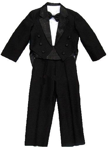 Kinder Smoking Frack Anzug Set, 5teilig, bestehend aus Smoking, Hemd, Hose, Weste und Fliege, schwarz, Gr.86