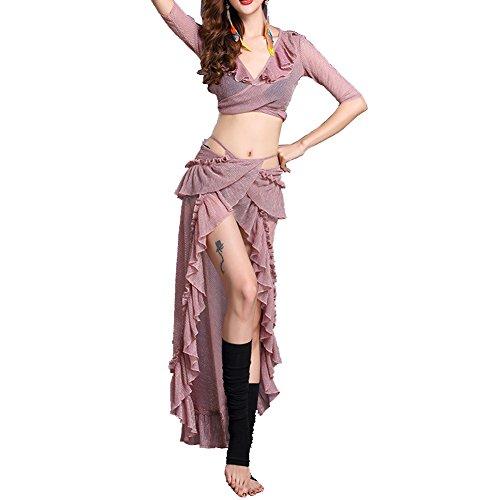 Q-JIU Bauch Dance Damen Show Tüll Rüschen 'Rock Halbarm Kostüm, pink,