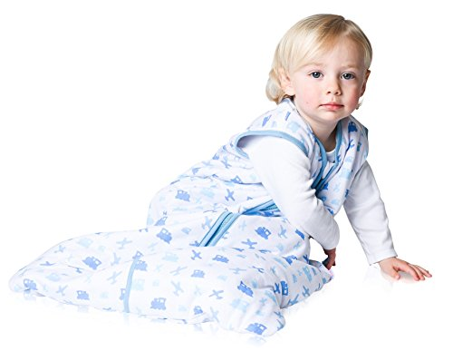 Snoozebag Planes and Trains 100% Cotton Boys 2.5 Tog Nursery Baby Sleeping Bag Blue
