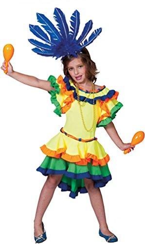 rasilianerin Kostüm Mädchen Brasil Kostüm Rio Samba Kleid Brasilien Karneval Kinder-Kostüm Größe 152 (Samba Kleid Kostüm)