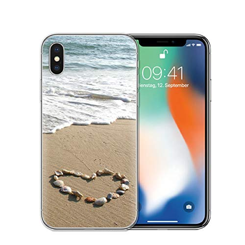 Générique Brown White Beach Theme iPhone 8 Plus Sized Case, Bigger Screen Teal Beige Tropical Pattern 7 Plus Cover Water Beach Themed Island Waves Vacation Seashells Heart Love Sand Tropics, Plastic