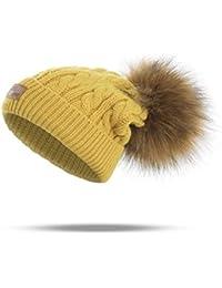 WISH4U Bambini Inverno Lavorato a Maglia Pom Faux Fur Sfera Pom Pom Beanie del  Cappello della 91e493746a96