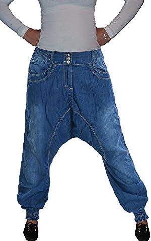 b.s Damen Harems Sarouel Aladin Jeans Hose, 3-Knopf, blue used (S-869), Gr.42 (= Hersteller XL)