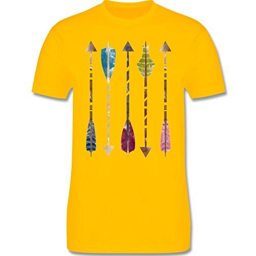 Statement Shirts - Wasserfarben Pfeile - Herren Premium T-Shirt Gelb