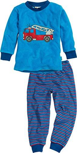 Playshoes Jungen Frottee Feuerwehr Zweiteiliger Schlafanzug, Blau (Blau 7), 128