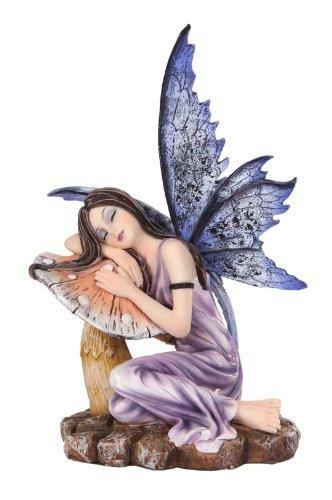 5.25 Inch Fairyland Purple Fairy Sleeping on Mushroom Statue Figurine by PTC -