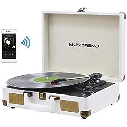 Platine Vinyle Bluetooth, MUSITREND Tourne-Disque à Trois Vitesse 33/45/78 avec Haut-parleurs intégrés, Encodage du Vinyle au MP3, Blanc