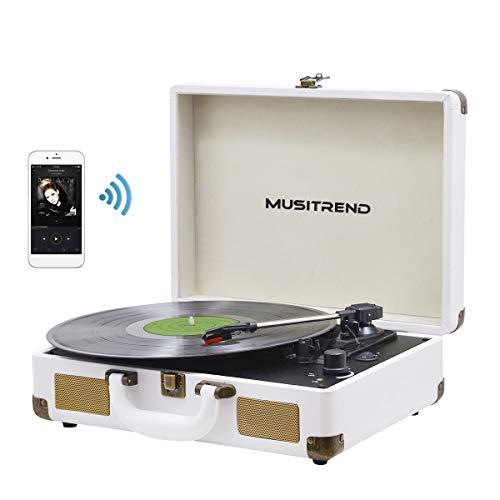 MUSITREND Plattenspieler mit Eingebauten Lautsprechern, 3-Gang-Portable Stereo-Schallplatt
