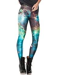 SaiDeng Mujer Diferentes Patrones De Impresión Chic Elástico Leggings Pantalones M