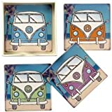 Shabby Chic Set Of 4 Ceramic Tile Camper Van Coasters & Holder By Transomnia