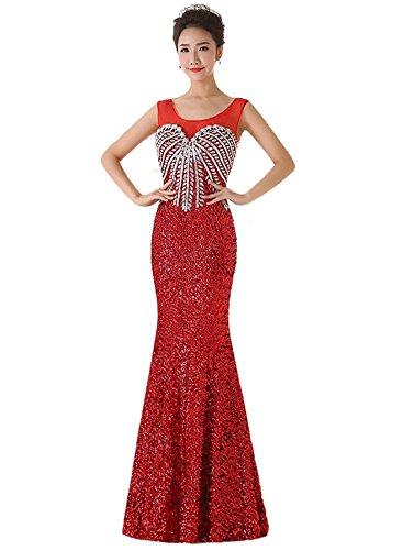 Drasawee Damen Schlauch Kleid Rot