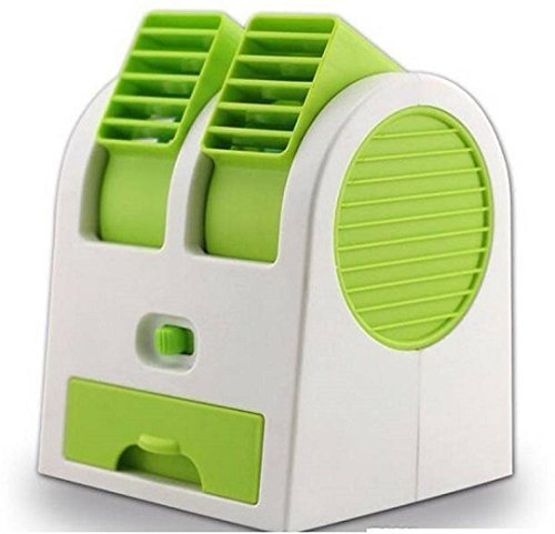 MLD® Mini Fan & Portable Dual Bladeless Small Air Conditioner Water Air Cooler Powered By Usb & Battery Use Of Car/Home/Office(Multicolor)  available at amazon for Rs.299