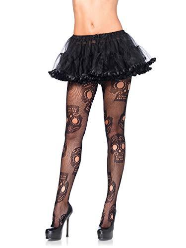 Leg Avenue Netz-Strumpfhose mit Totenköpfen schwarz XL - XXL Übergröße (Netz Avenue Leg)