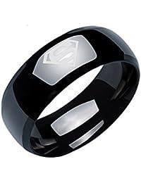 Sorella'z Mens Black Titanium Stainless Steel Superman Logo Ring