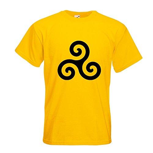 KIWISTAR - Triskele T-Shirt in 15 verschiedenen Farben - Herren Funshirt bedruckt Design Sprüche Spruch Motive Oberteil Baumwolle Print Größe S M L XL XXL Gelb