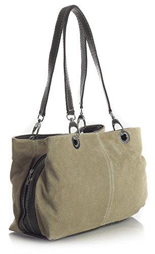 Big Handbag Shop kleine Damen Umhängetasche mit mehreren Reißverschlusstaschen aus Wildleder Beige - schwarz Trim