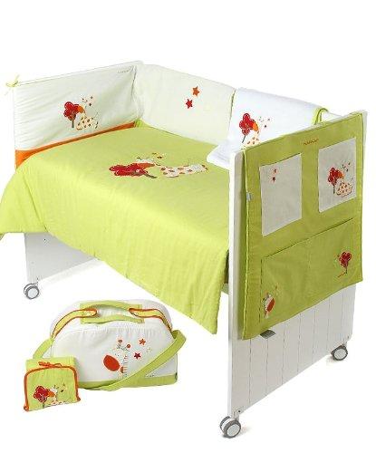 Naf-Naf 30349 6 Stücke: Bettdecke mit füllung, Nestchen, Utensilo, Sommerdcke, Wickeltasche und Wickelunterlage Jungle Pistacho (Stück Bettwäsche-set Sechs)