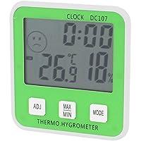 Blanco Verde Energía de la batería cubierta de alarma digital termómetro higrómetro