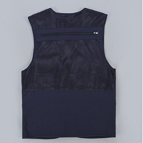 Zhhlinyuan Mens Lightweight Soft Practical Outdoor Photography Vest Waistcoat Gilet Dark Blue