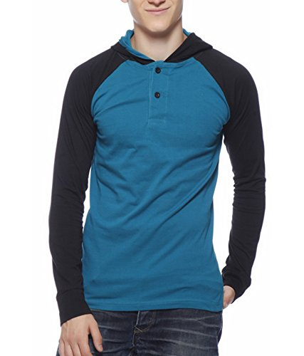 Gritstones Turquoise Blue Round T-Shirt Full Sleeves Round Neck-GSFS60052TRQBLK-L