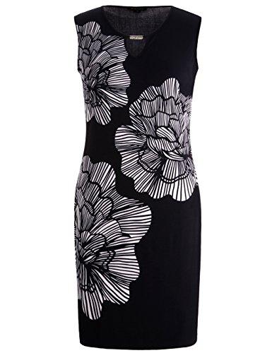 Chicwe Damen Strecken Große Großen Shift Kleid mit Schlüsselloch und Metall Trimmen Schwarz 3X (Schwarze Shift-kleider Für Frauen)