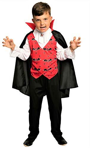 Jungen Vampir Kostüm - Magicoo Lord Vampir Kostüm Kinder Jungen - komplettes Halloween Vampirkostüm für Kinder Gr. 110 bis 140 (122/128)