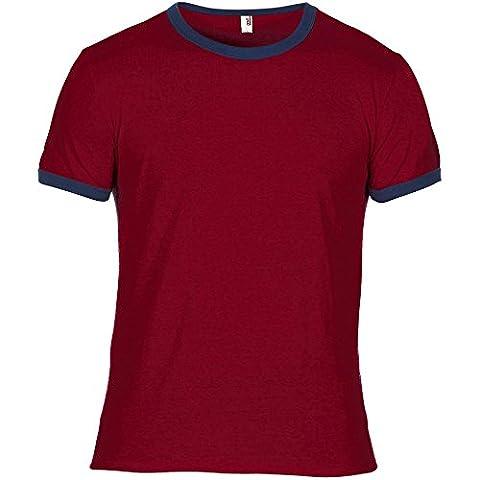 Anvil Mens Adult Lightweight Ringer T Shirt Red Navy