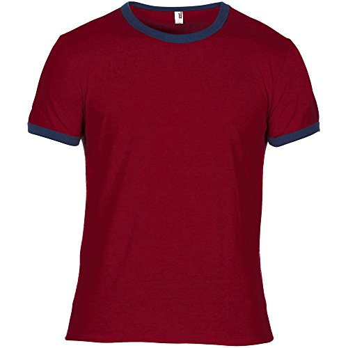 Anvil Mens Adult Lightweight Ringer T Shirt Red Navy (Ringer Heather T-shirt)