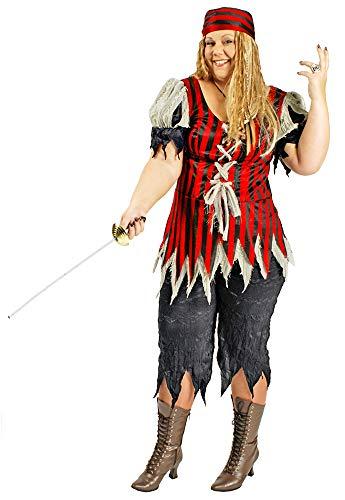 Körner Festartikel Piratin Kostüm Freibeuterin Damen für große Größen Gr. 44 46 - Tolles XXL Piraten Seeräuber Kostüm für Frauen zu Karneval und Mottoparty (Tolle Kostüm Frauen)