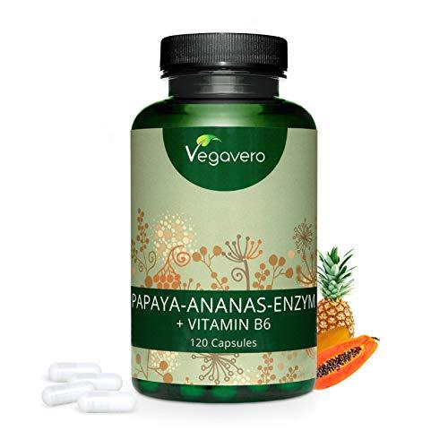 PAPAINA e BROMELINA Vegavero® | ENZIMI DIGESTIVI (Papaya e Ananas) con Vitamina B6 | Digestivo Naturale | 120 capsule | Vegano