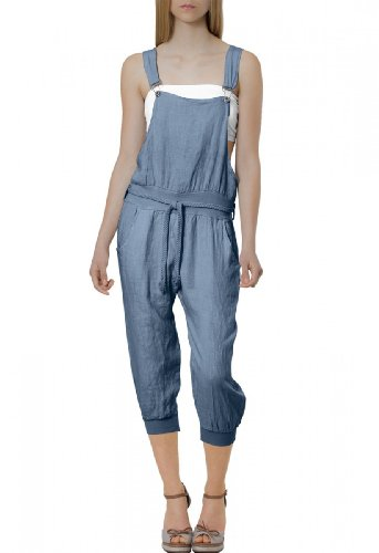 CASPAR Damen leichte Casual Leinen Sommer Hose / Latzhose / Jumpsuit - viele Farben - KHS005, Farbe:jeans blau;Größe:36 S UK8 US6