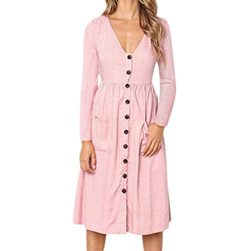 (MRULIC Womens Holiday Striped Damen Sommer Strand Buttons Party Kleid (EU-42/CN-2XL, Rosa))
