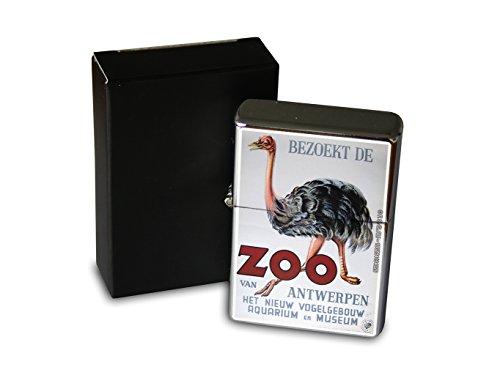 LEotiE SINCE 2004 Chrom Sturm Feuerzeug Benzin Bedruckt Kinderzimmer Antwerpen Zoo Strauss