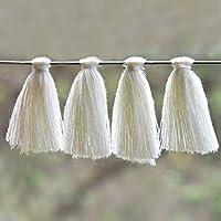 Embroiderymaterial Bordado de algodón con borlas para Hacer aretes y decoración, Color Blanco (50