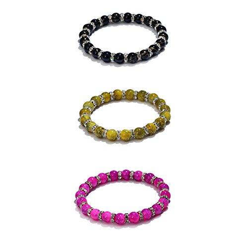 Soleebee Glas Backen-Lack Strass Perlen Elastisches Armband für Damen und Mädchen (3 Stück) (Backen Gläser)