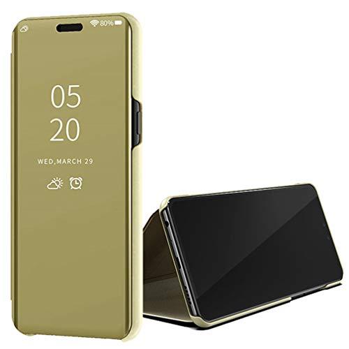 ColiColi für Asus Zenfone Max Pro M2 Hülle, Handyhülle für Asus Zenfone Max Pro M2 ZB631KL Smartphone Schutzhülle [Spiegel] [Ständer] [Magnet] PU Leder Flip Bookstyle Mirror Stoßfest Etui, Gold