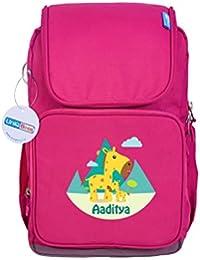 UniQBees Personalised School Bag With Name (Active Kids Medium School Backpack-Pink-Spots)