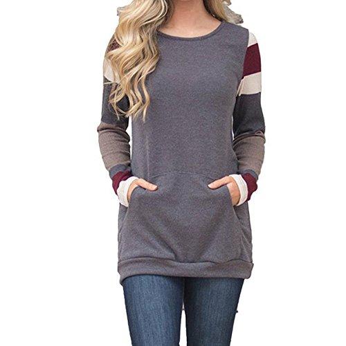 Femme Automne Manches Longues Cou Ronde Rayée Mode Mince Casual Avec Poche Chaud Hoodie Sweatshirt Blouse Haut Long T-Shirt robe Tops Gris