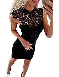 93537f9427be4 Donna Vestiti Estivo Moda Rotondo Collo Senza Maniche Vestito a Tubino  Elegante Pizzo Cucitura Corto Abito da…