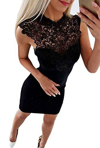 Donna vestiti estivo moda rotondo collo senza maniche vestito a tubino elegante pizzo cucitura corto abito da cocktail partito festa