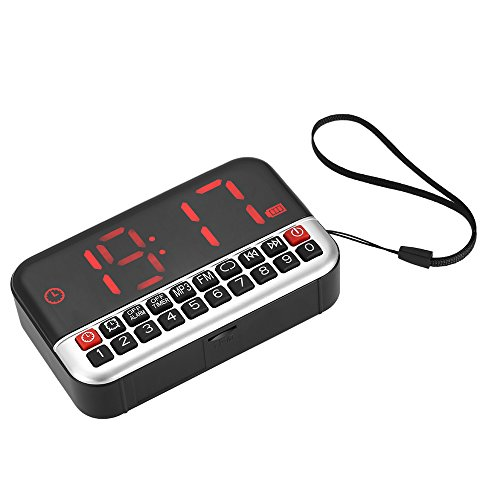Docooler 3-en-1 Portable FM Radio Digital Stereo Speaker, Alarm Clock & Clock, USB Disk and TF Card, Battery with AUX 1500mAh, LED display