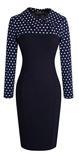 HOMEYEE - Robe - Moulante - Manches Longues - Femme B238 Dot + Bleu foncé
