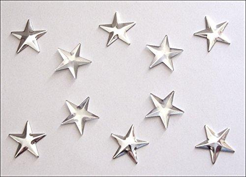 100 STELLE STELLINE STAR ARGENTO / METALLO TERMOADESIVE HOTFIX 8mm - Pietra Scarpe Clip